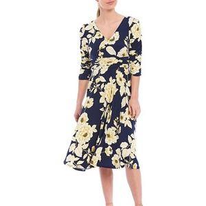 ELIZA J Ruched Sleeve V Neck Floral Print Dress